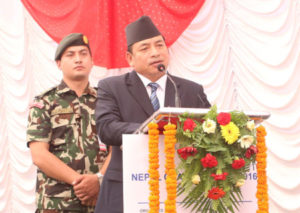 Vice-President Nanda Bahadur Pun addressing the Nepal Chamber Expo at Bhrikutimandap, Kathmandu, on Friday, September 23, 2016. Photo: RSS